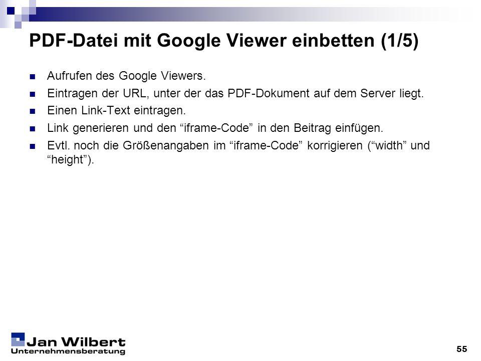 PDF-Datei mit Google Viewer einbetten (1/5)