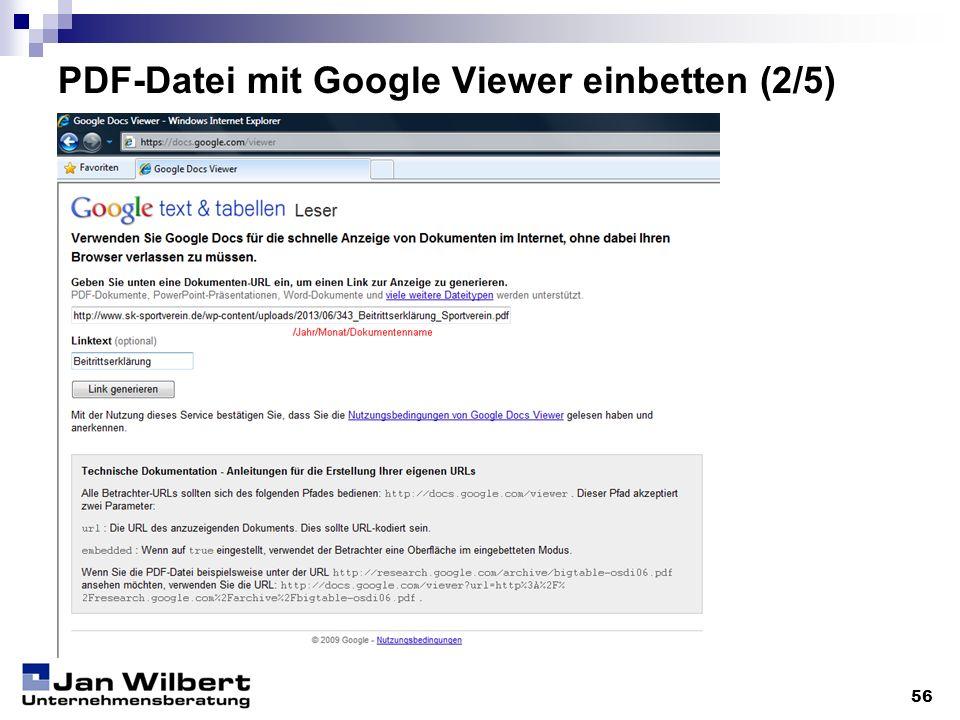 PDF-Datei mit Google Viewer einbetten (2/5)