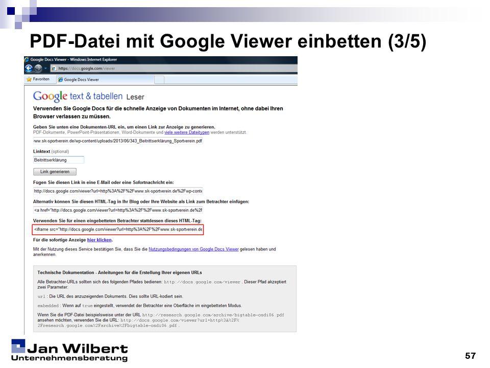 PDF-Datei mit Google Viewer einbetten (3/5)