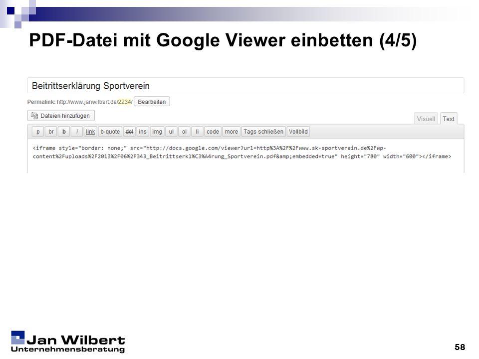 PDF-Datei mit Google Viewer einbetten (4/5)