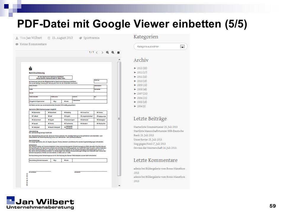 PDF-Datei mit Google Viewer einbetten (5/5)