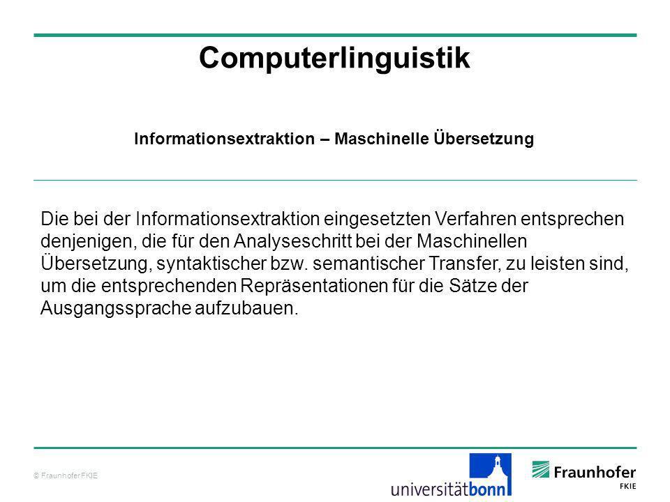 Informationsextraktion – Maschinelle Übersetzung