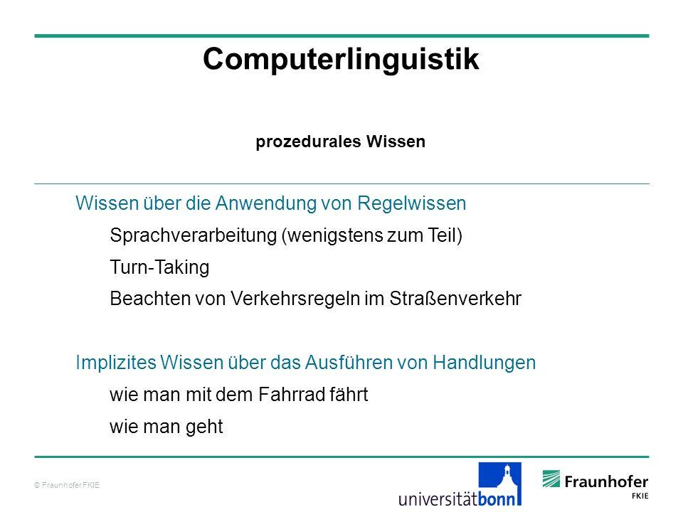 Computerlinguistik Wissen über die Anwendung von Regelwissen