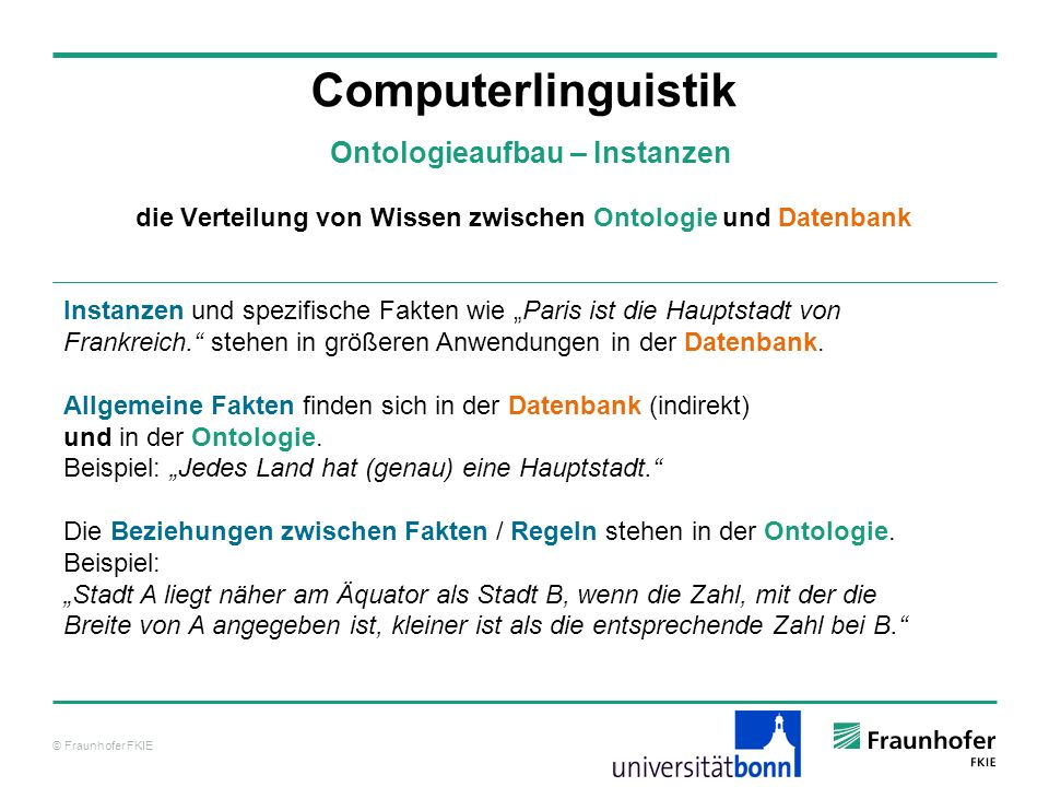 Computerlinguistik Ontologieaufbau – Instanzen