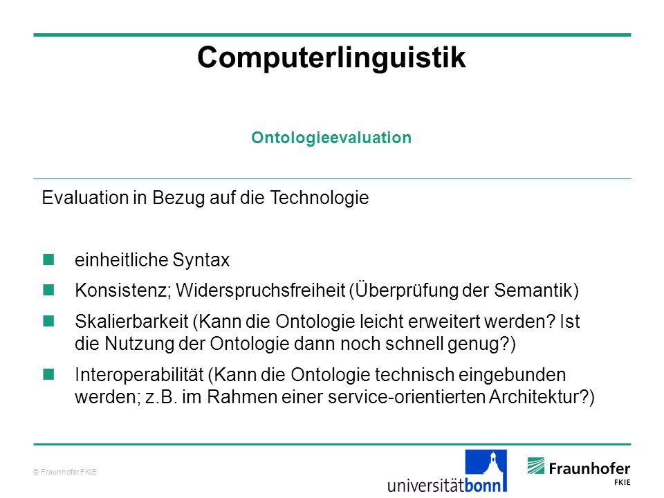 Computerlinguistik Evaluation in Bezug auf die Technologie