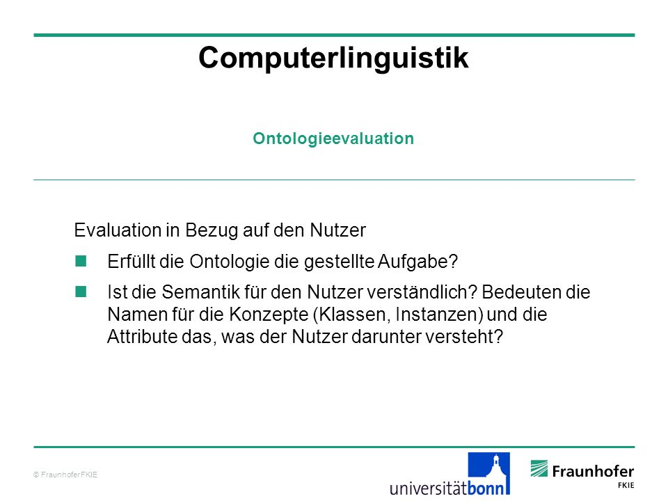 Computerlinguistik Evaluation in Bezug auf den Nutzer