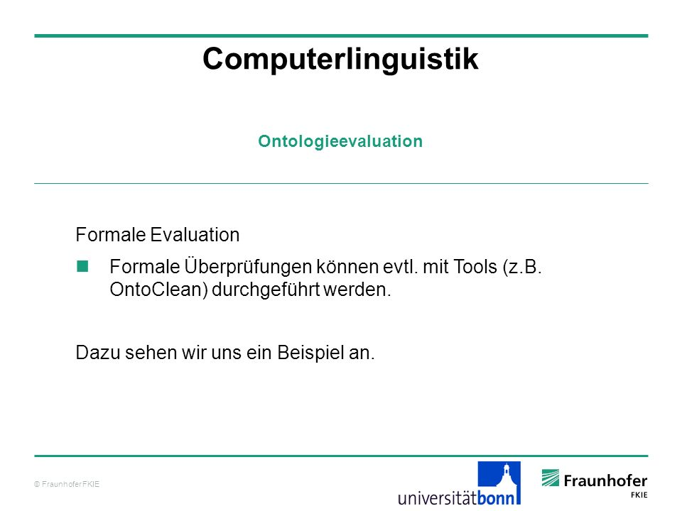 Computerlinguistik Formale Evaluation