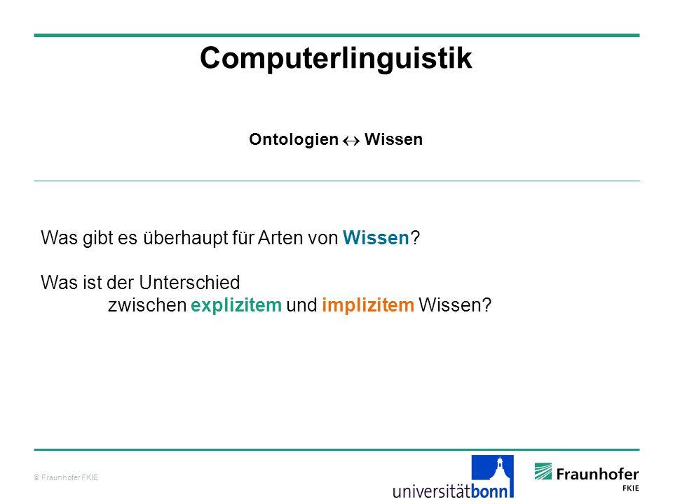 Computerlinguistik Was gibt es überhaupt für Arten von Wissen