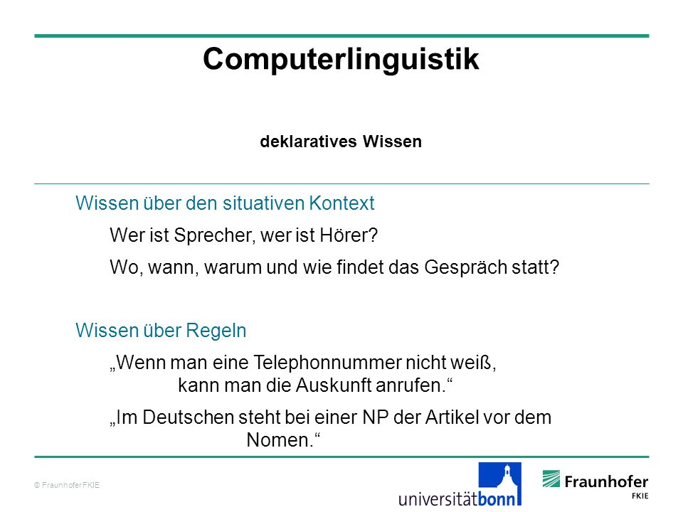 Computerlinguistik Wissen über den situativen Kontext