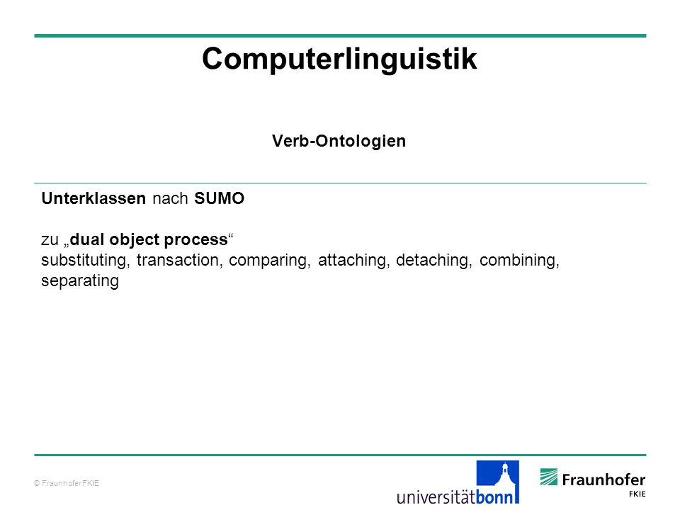 Computerlinguistik Verb-Ontologien Unterklassen nach SUMO