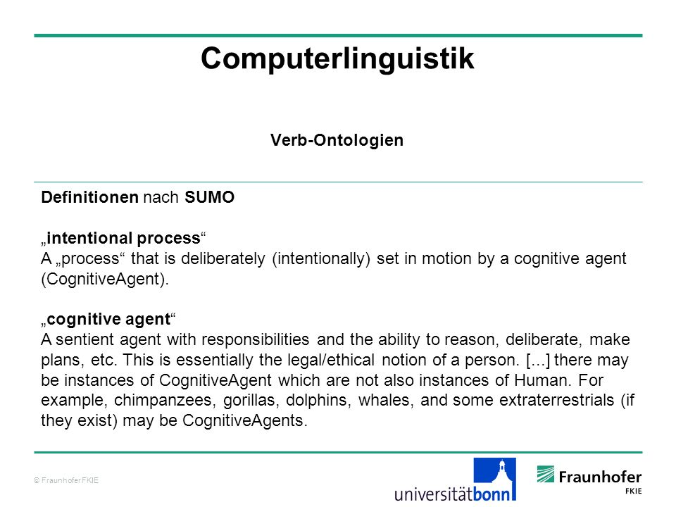 Computerlinguistik Verb-Ontologien Definitionen nach SUMO