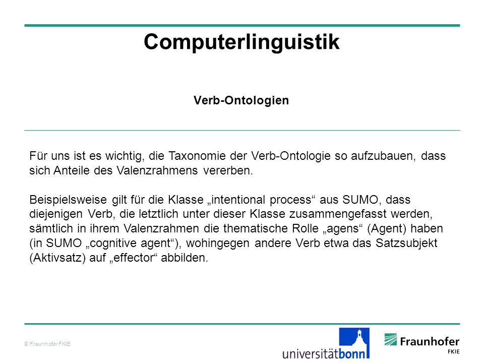 Computerlinguistik Verb-Ontologien