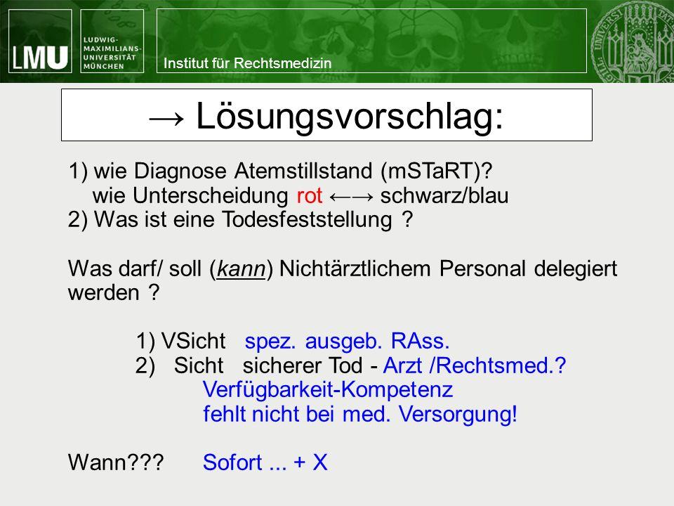 → Lösungsvorschlag: 1) wie Diagnose Atemstillstand (mSTaRT)