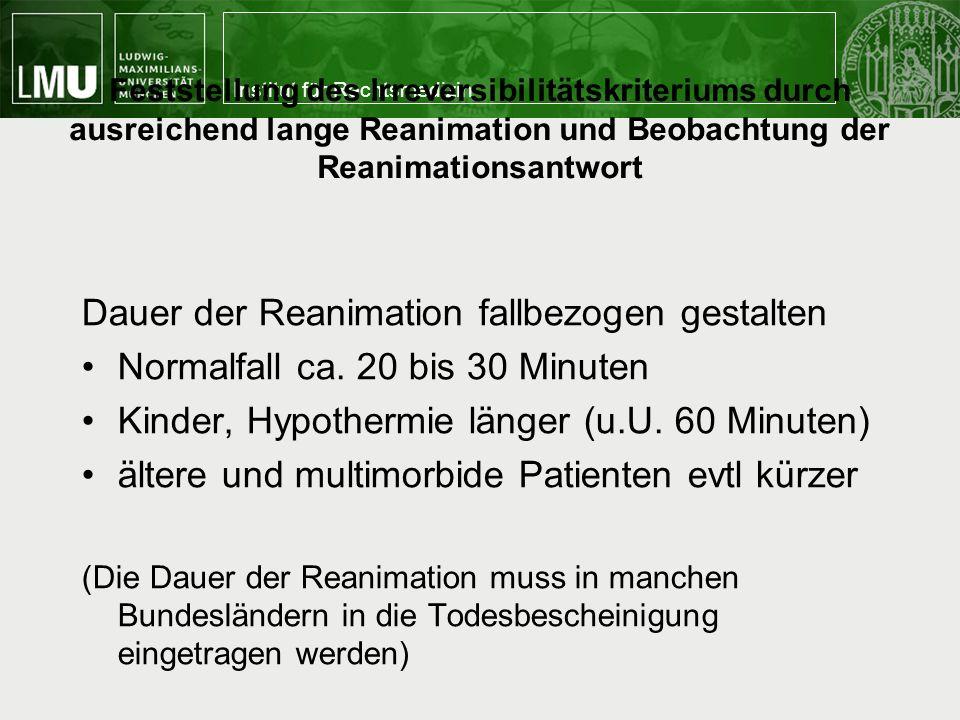 Dauer der Reanimation fallbezogen gestalten