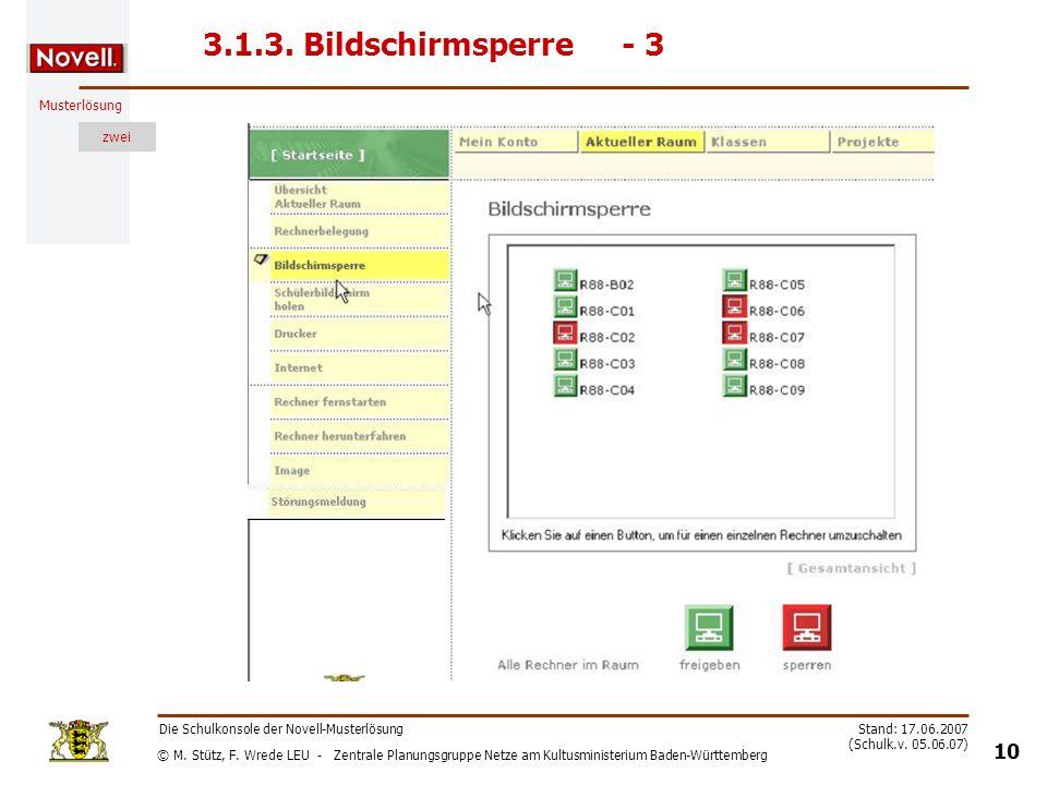 3.1.3. Bildschirmsperre - 3 Die Schulkonsole der Novell-Musterlösung