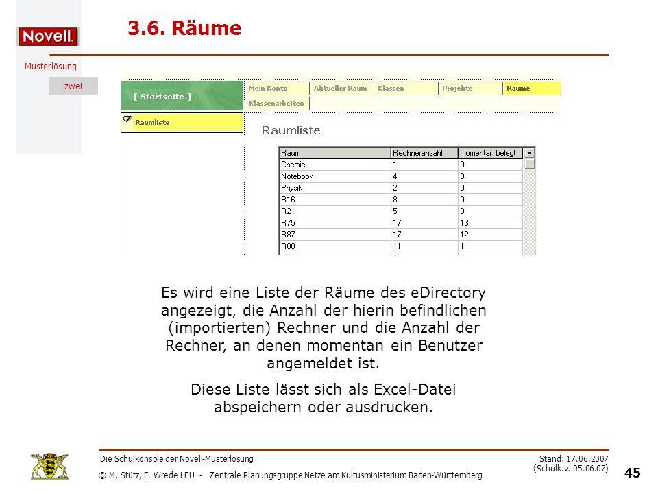 Diese Liste lässt sich als Excel-Datei abspeichern oder ausdrucken.