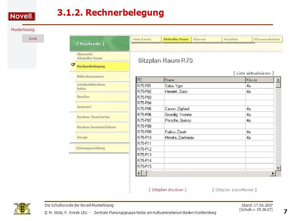 3.1.2. Rechnerbelegung Die Schulkonsole der Novell-Musterlösung