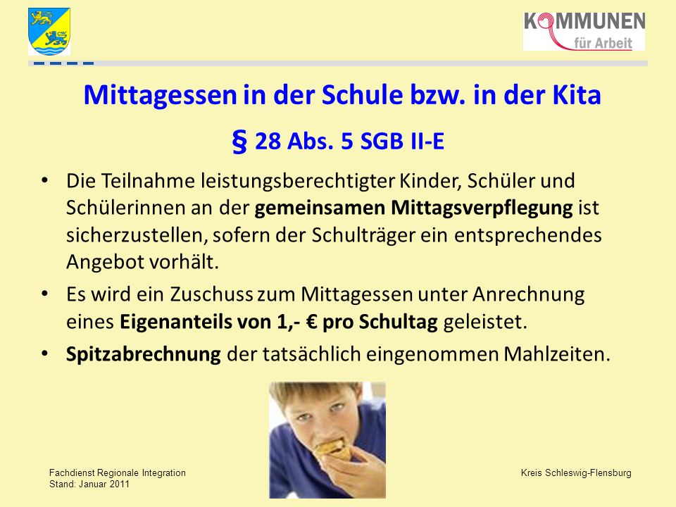 Mittagessen in der Schule bzw. in der Kita § 28 Abs. 5 SGB II-E