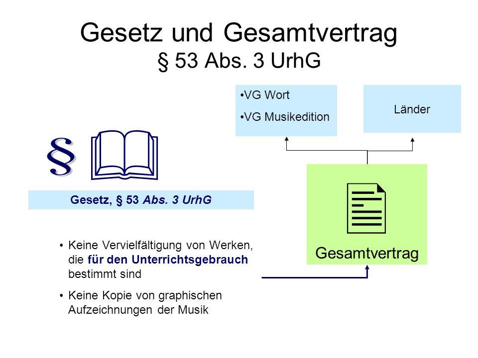 Gesetz und Gesamtvertrag § 53 Abs. 3 UrhG