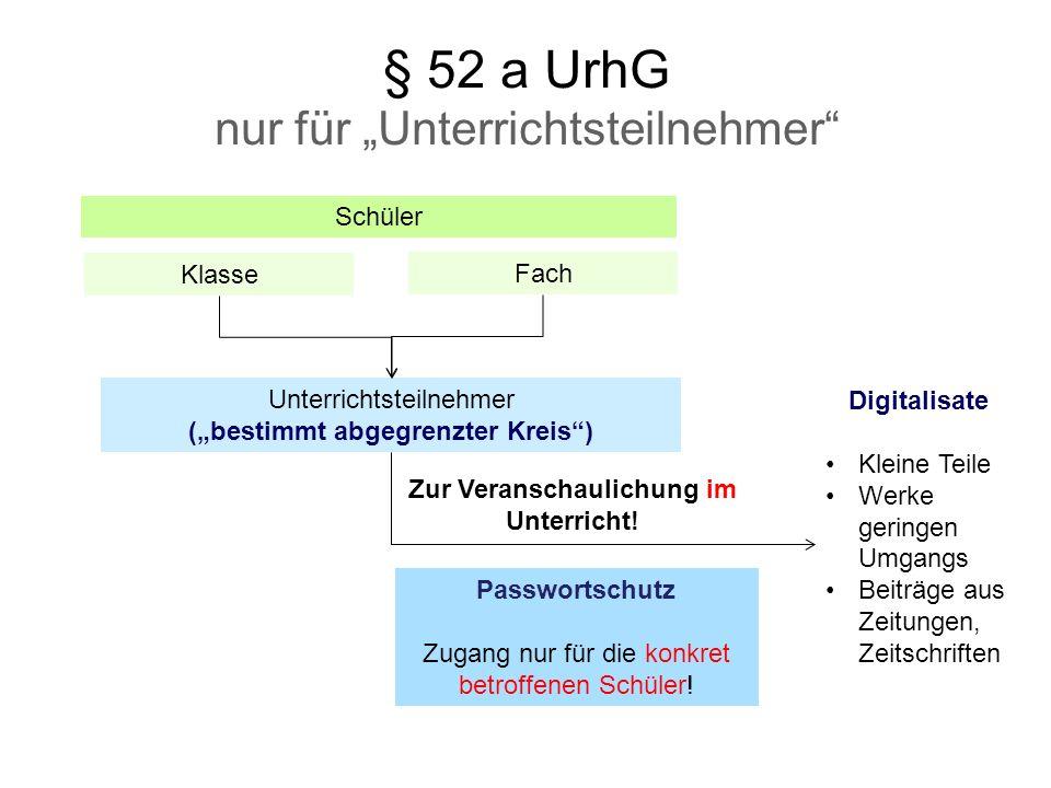 """§ 52 a UrhG nur für """"Unterrichtsteilnehmer"""