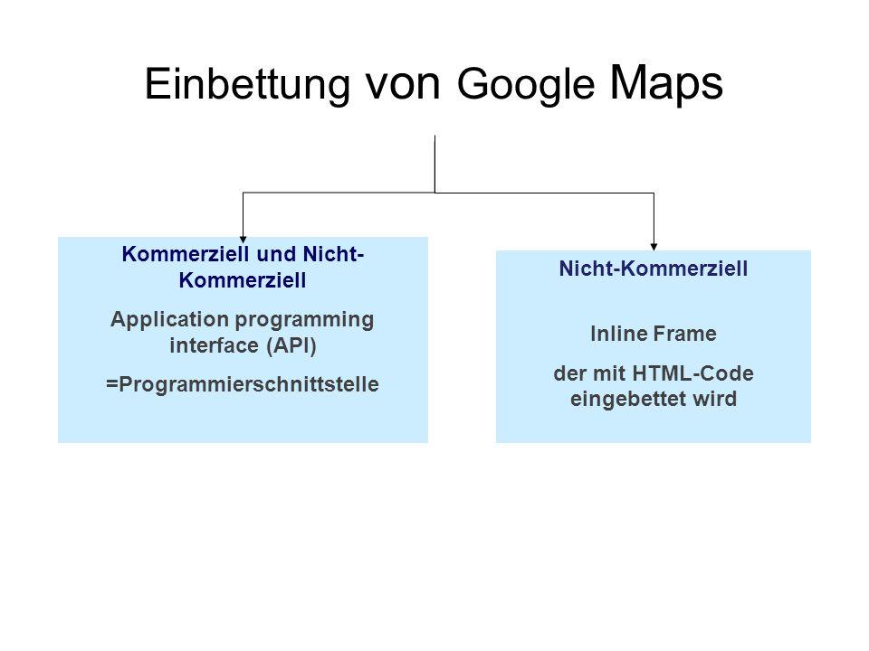 Einbettung von Google Maps