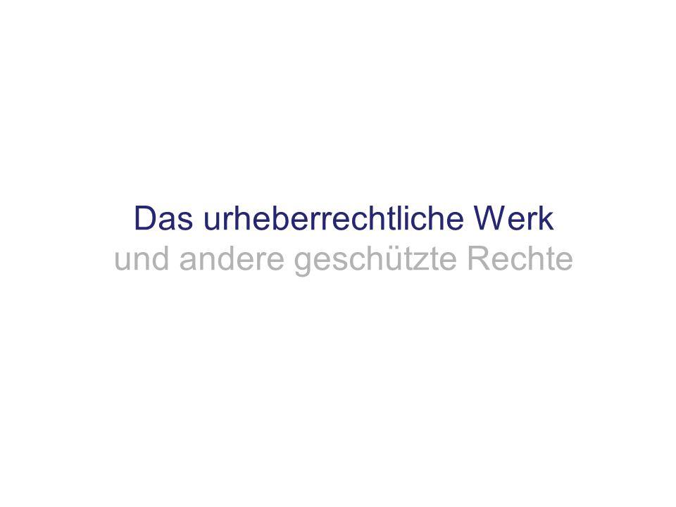 Das urheberrechtliche Werk und andere geschützte Rechte