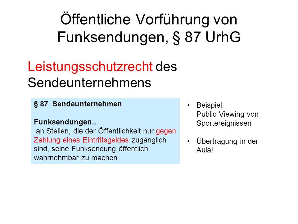 Öffentliche Vorführung von Funksendungen, § 87 UrhG