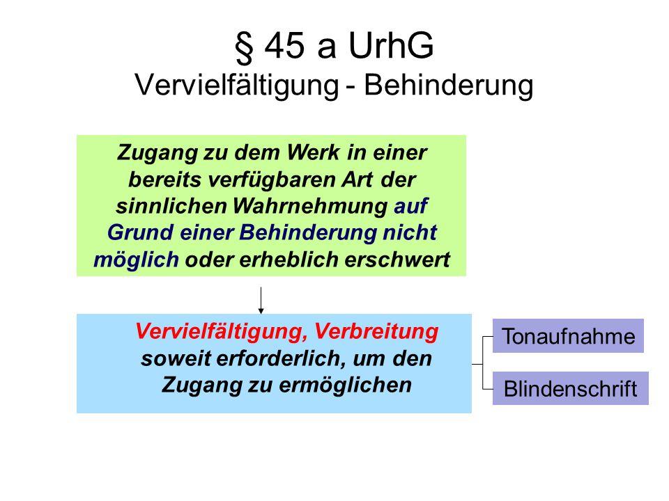 § 45 a UrhG Vervielfältigung - Behinderung