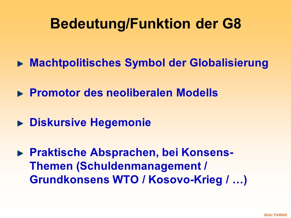 Bedeutung/Funktion der G8