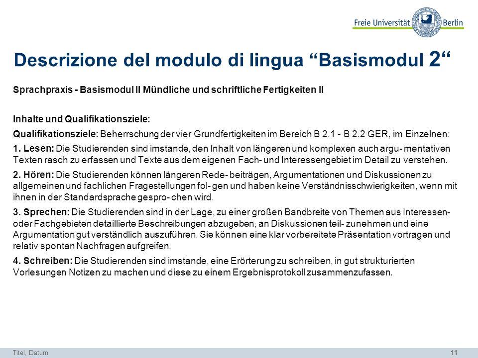 Descrizione del modulo di lingua Basismodul 2