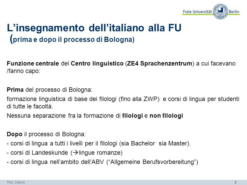 L'insegnamento dell'italiano alla FU (prima e dopo il processo di Bologna)