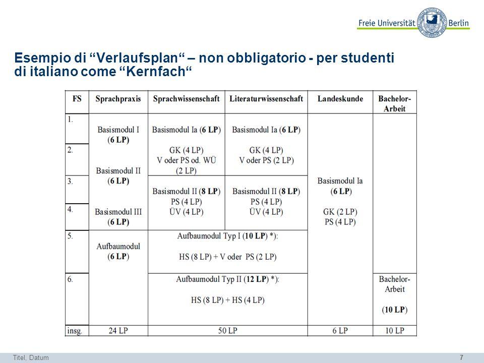 Esempio di Verlaufsplan – non obbligatorio - per studenti di italiano come Kernfach