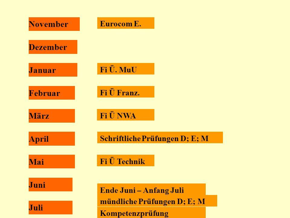 November Dezember Januar Februar März April Mai Juni Juli Eurocom E.