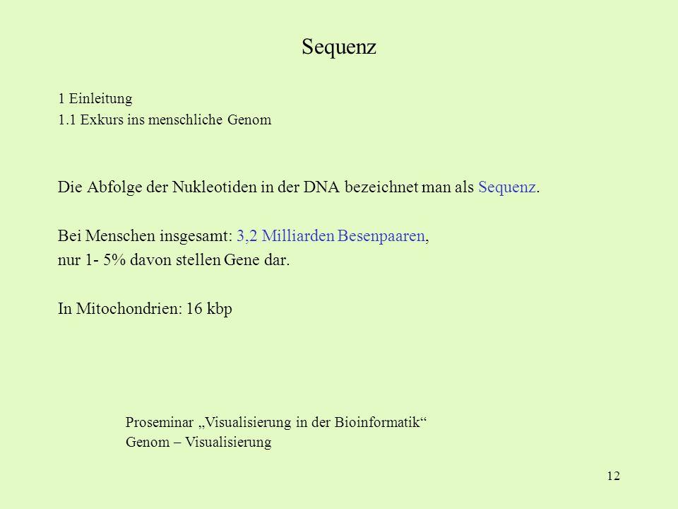 Sequenz 1 Einleitung. 1.1 Exkurs ins menschliche Genom. Die Abfolge der Nukleotiden in der DNA bezeichnet man als Sequenz.