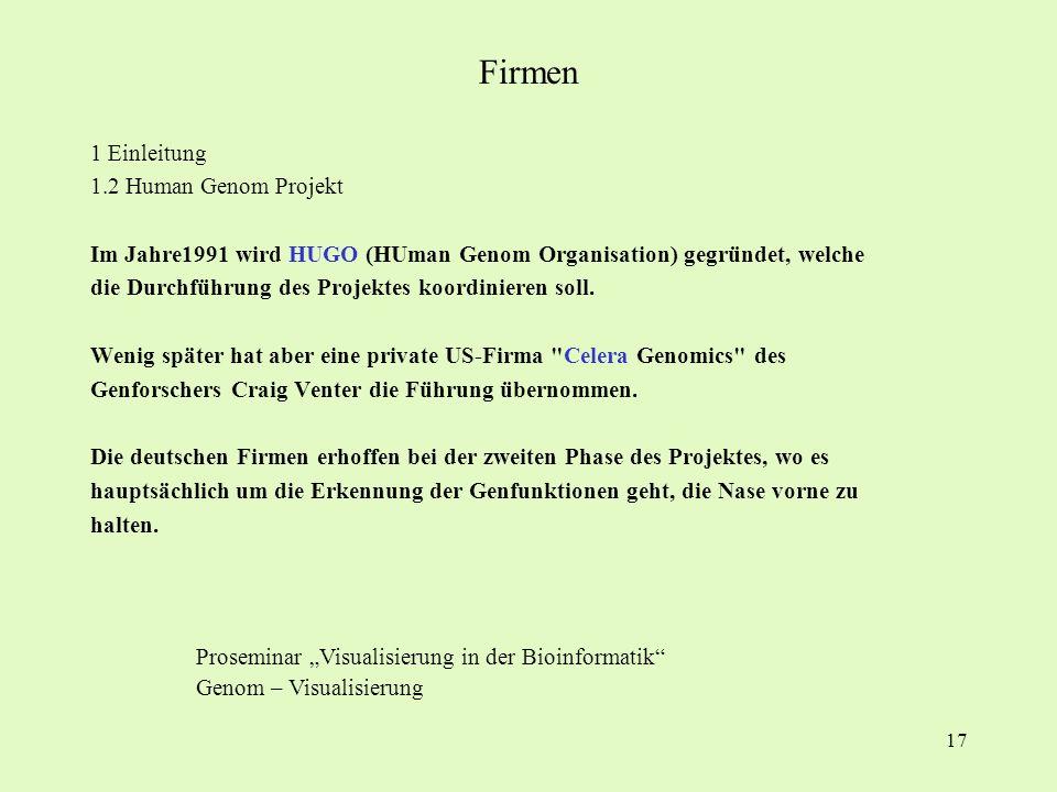 Firmen 1 Einleitung 1.2 Human Genom Projekt