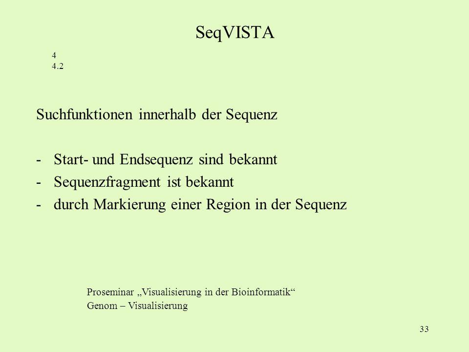 SeqVISTA Suchfunktionen innerhalb der Sequenz