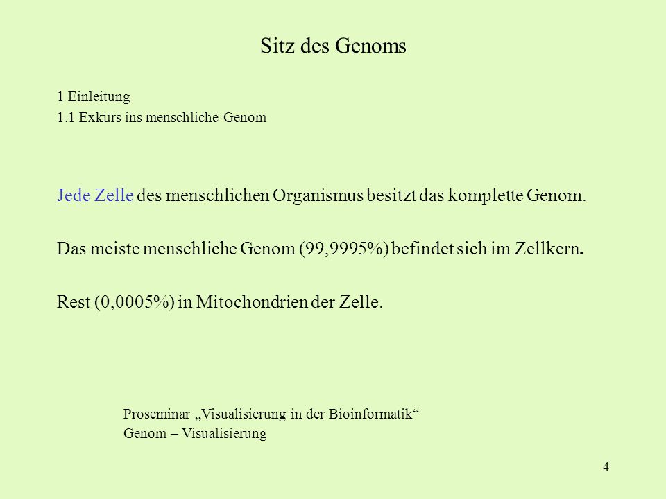 Sitz des Genoms 1 Einleitung. 1.1 Exkurs ins menschliche Genom. Jede Zelle des menschlichen Organismus besitzt das komplette Genom.