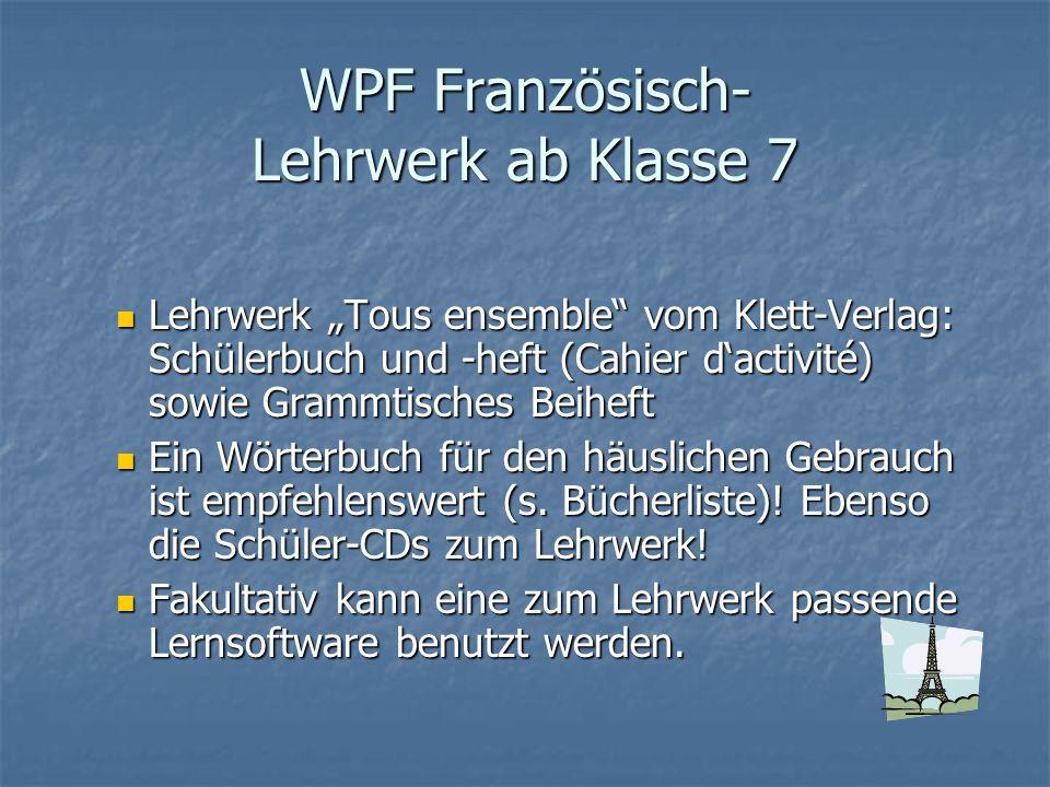 WPF Französisch- Lehrwerk ab Klasse 7