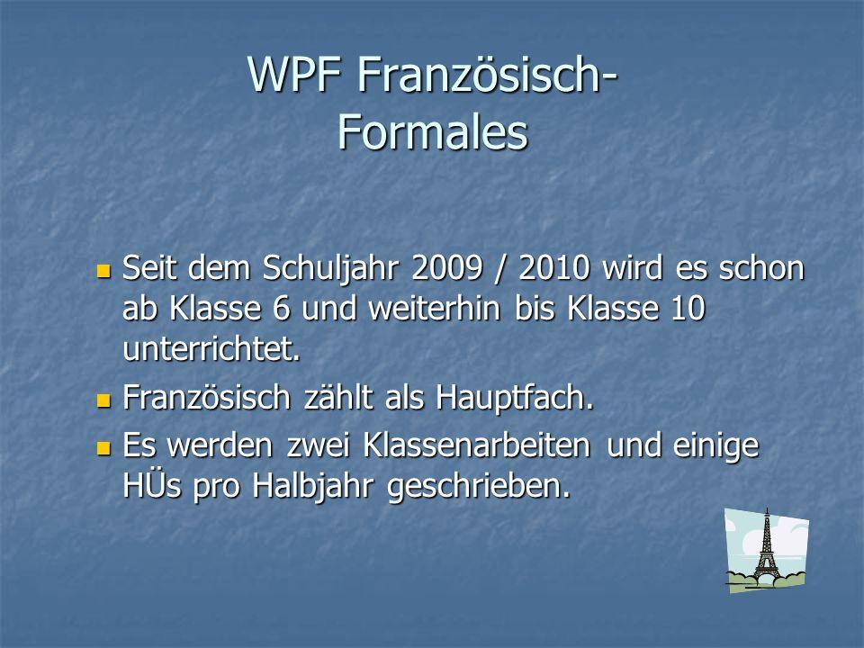 WPF Französisch- Formales
