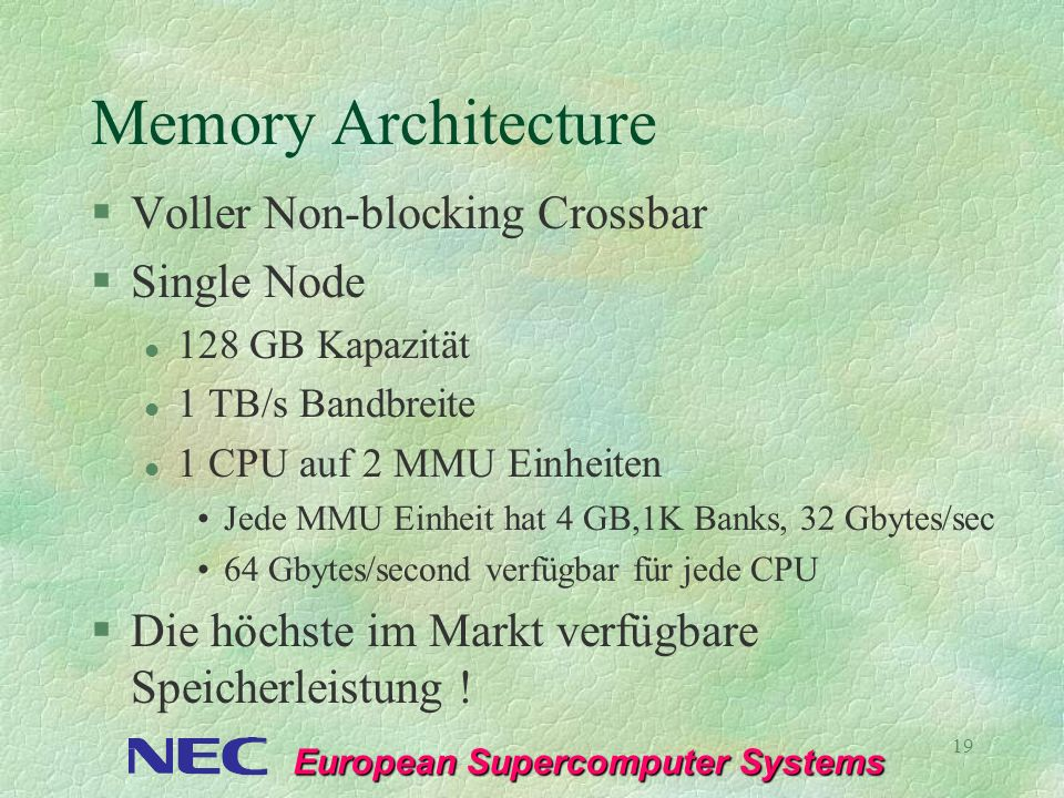 Memory Architecture Voller Non-blocking Crossbar Single Node