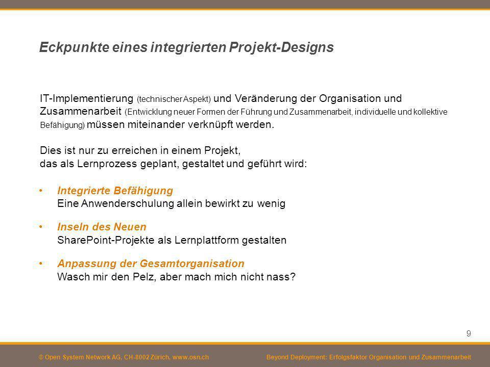 Eckpunkte eines integrierten Projekt-Designs
