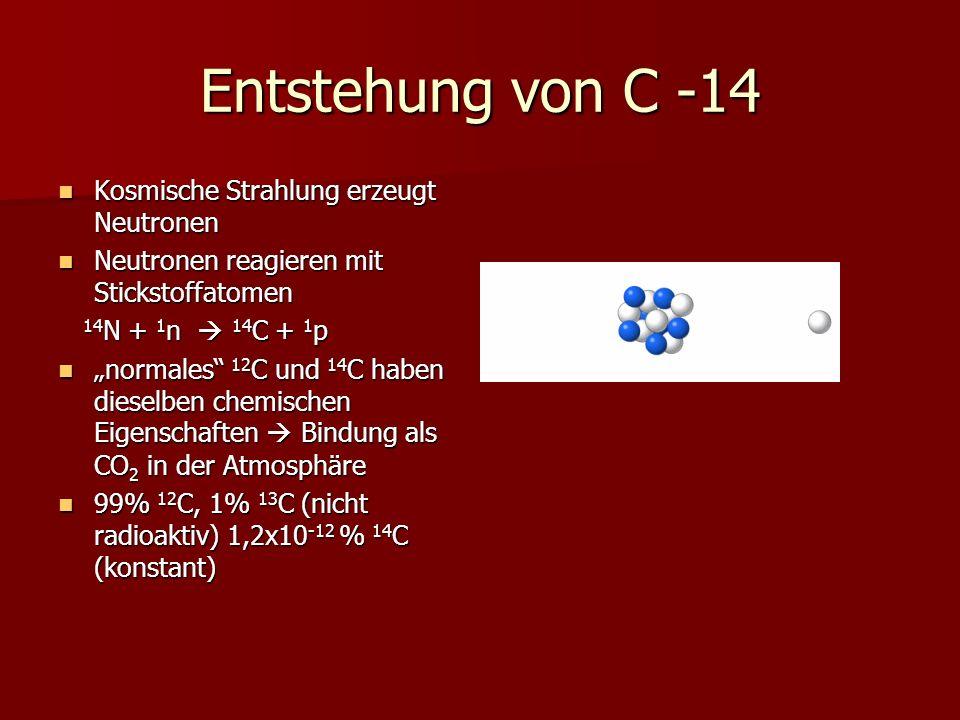 Entstehung von C -14 Kosmische Strahlung erzeugt Neutronen