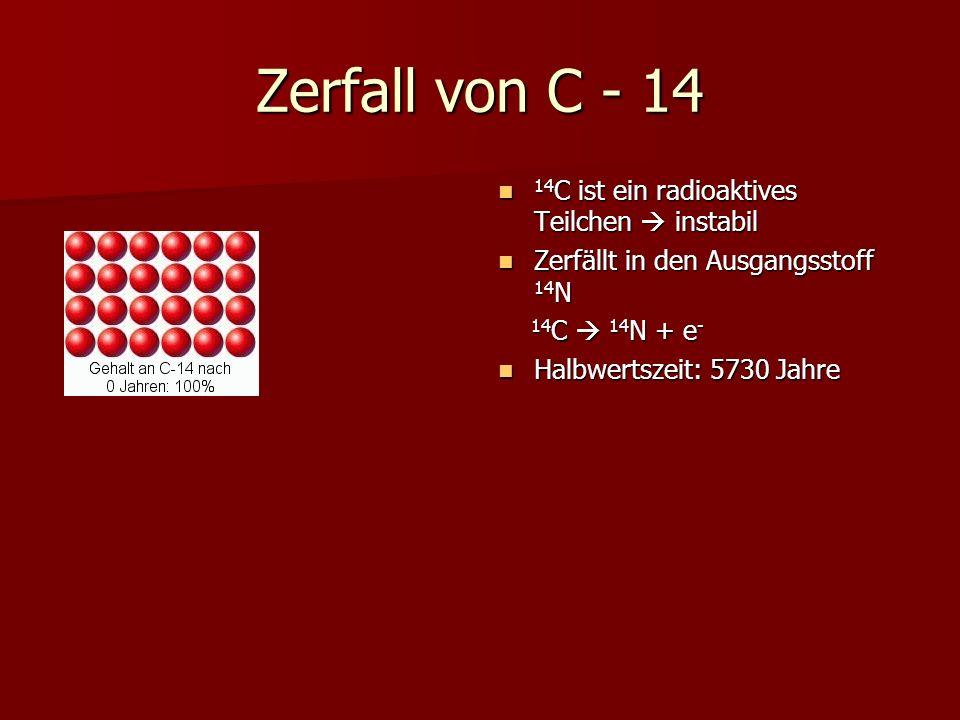 Zerfall von C - 14 14C ist ein radioaktives Teilchen  instabil