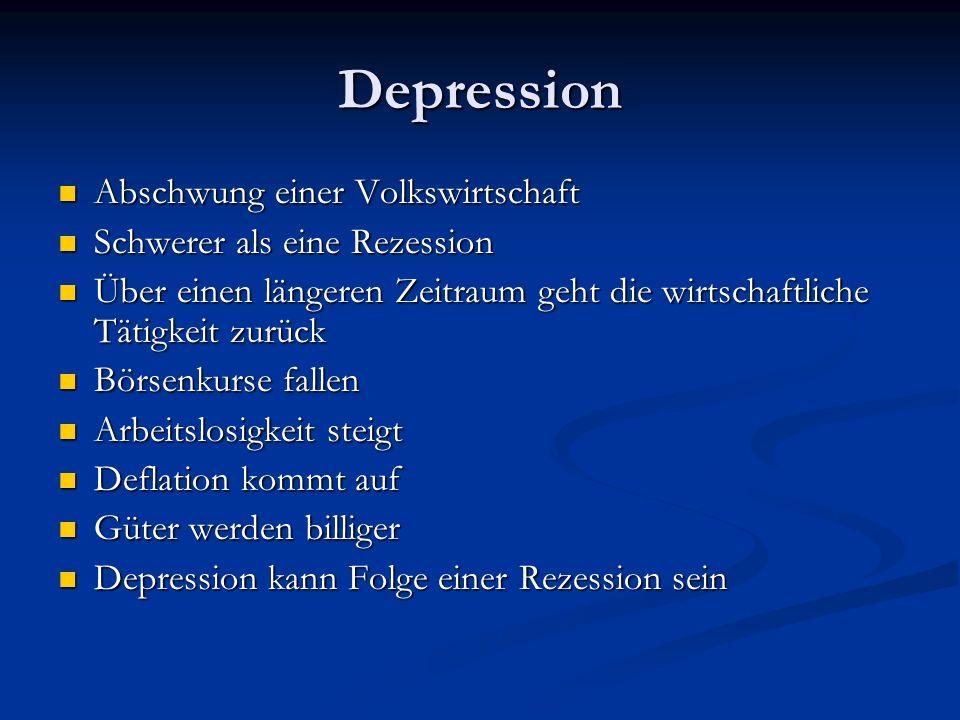 Depression Abschwung einer Volkswirtschaft Schwerer als eine Rezession