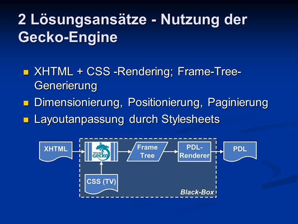 2 Lösungsansätze - Nutzung der Gecko-Engine