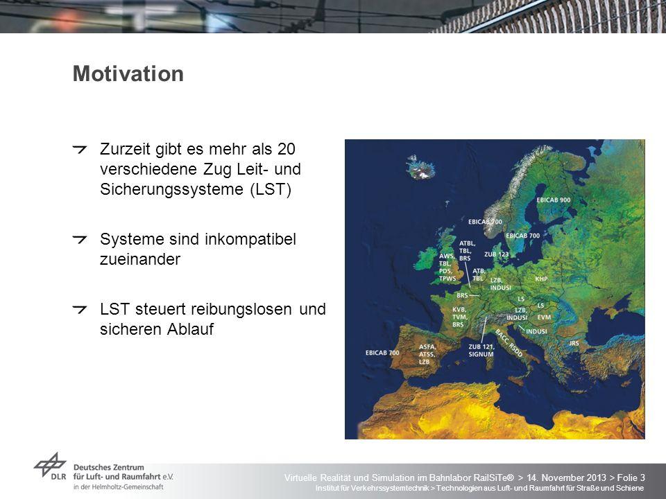 Motivation Zurzeit gibt es mehr als 20 verschiedene Zug Leit- und Sicherungssysteme (LST) Systeme sind inkompatibel zueinander.