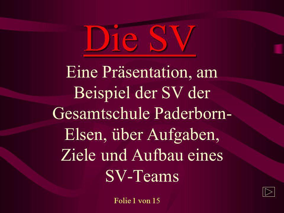 Die SV Eine Präsentation, am Beispiel der SV der Gesamtschule Paderborn-Elsen, über Aufgaben, Ziele und Aufbau eines SV-Teams.