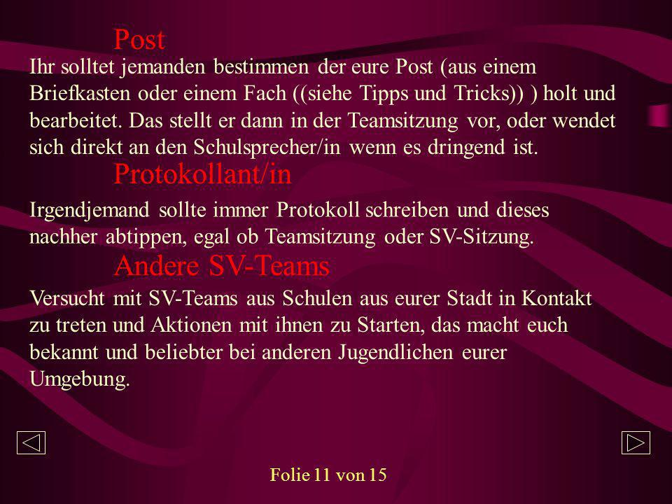 Post Protokollant/in Andere SV-Teams