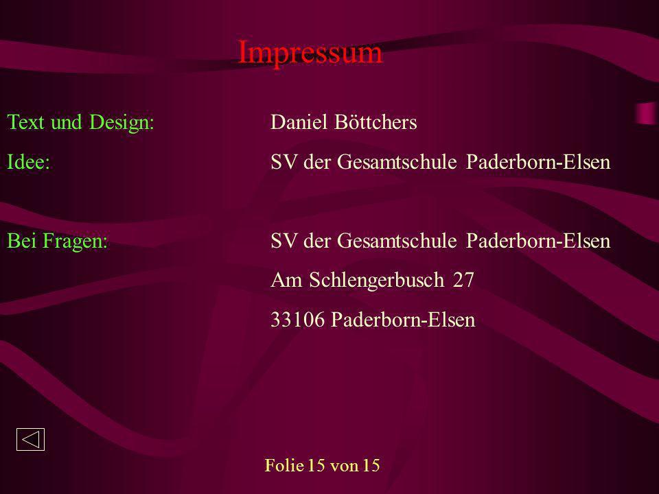 Impressum Text und Design: Daniel Böttchers