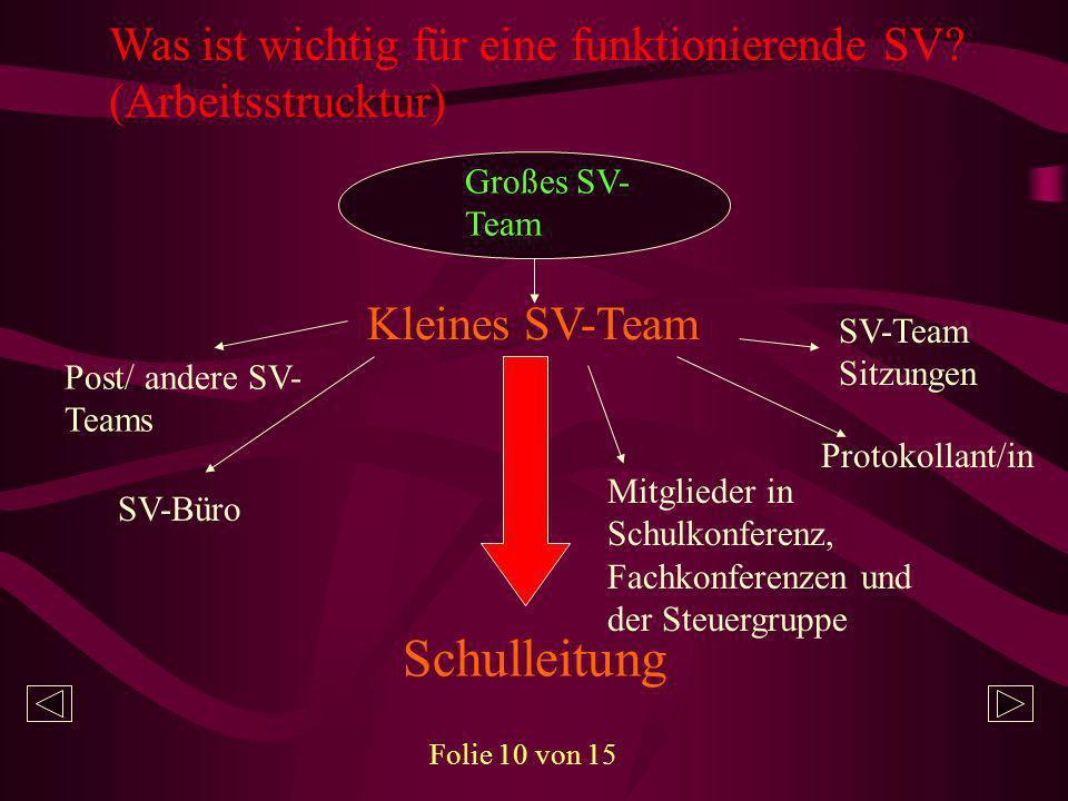 Was ist wichtig für eine funktionierende SV (Arbeitsstrucktur)